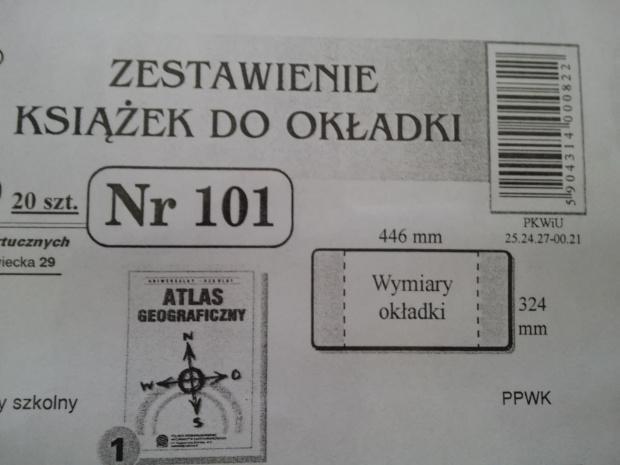 Okładka na atlas wys 32,4 cm szer 44,6 cm nr 101